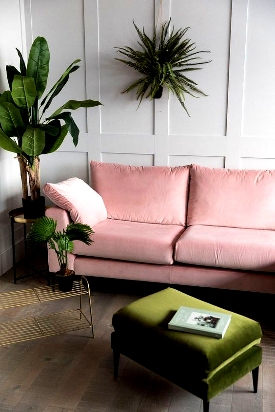millennial pink khaki white living room sofa  decoration