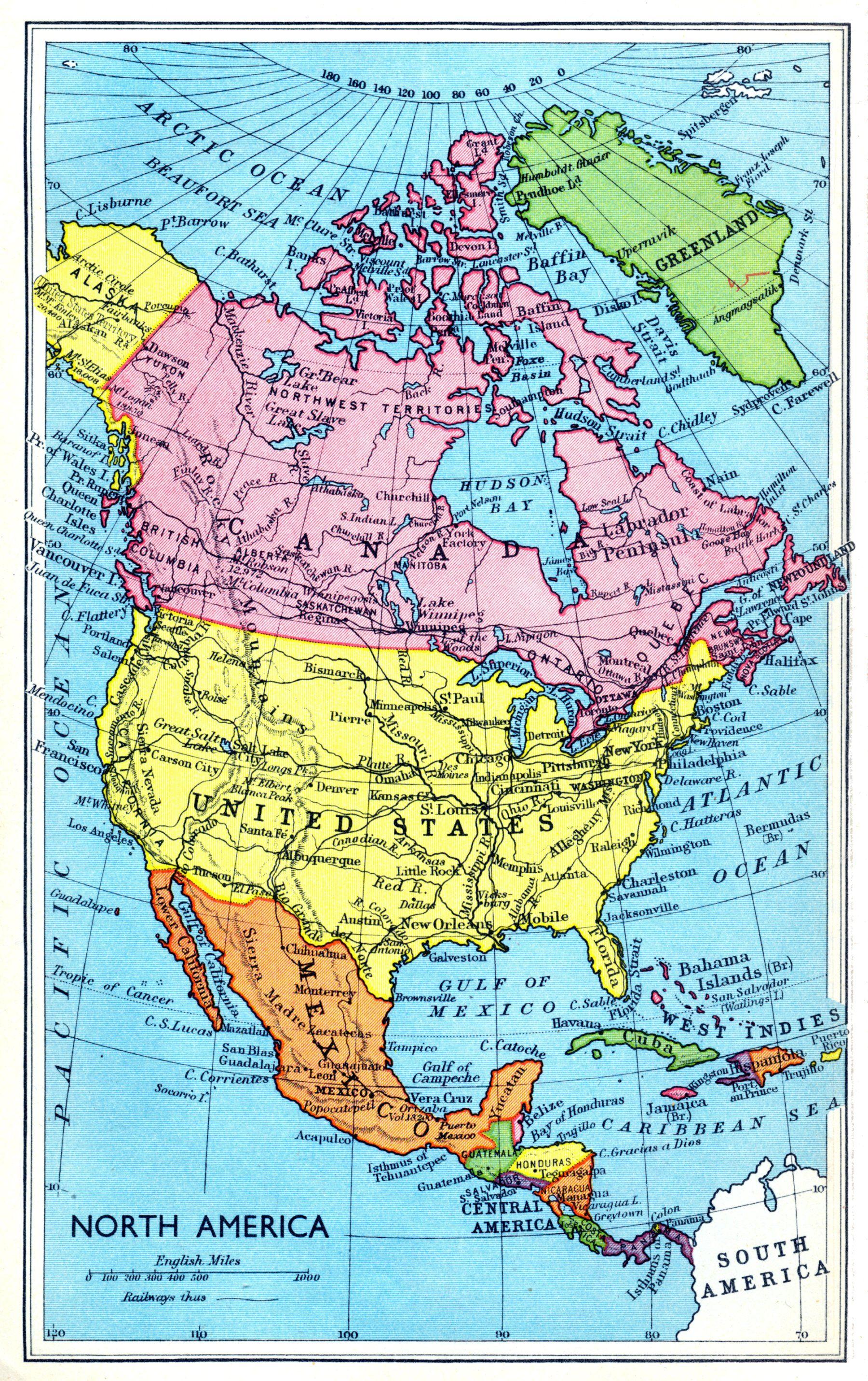 map of north america 1949