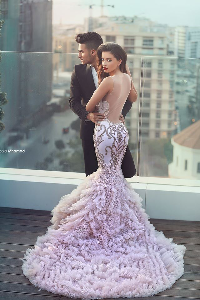 Y Fishtail Beaded Pink Bridal Dress