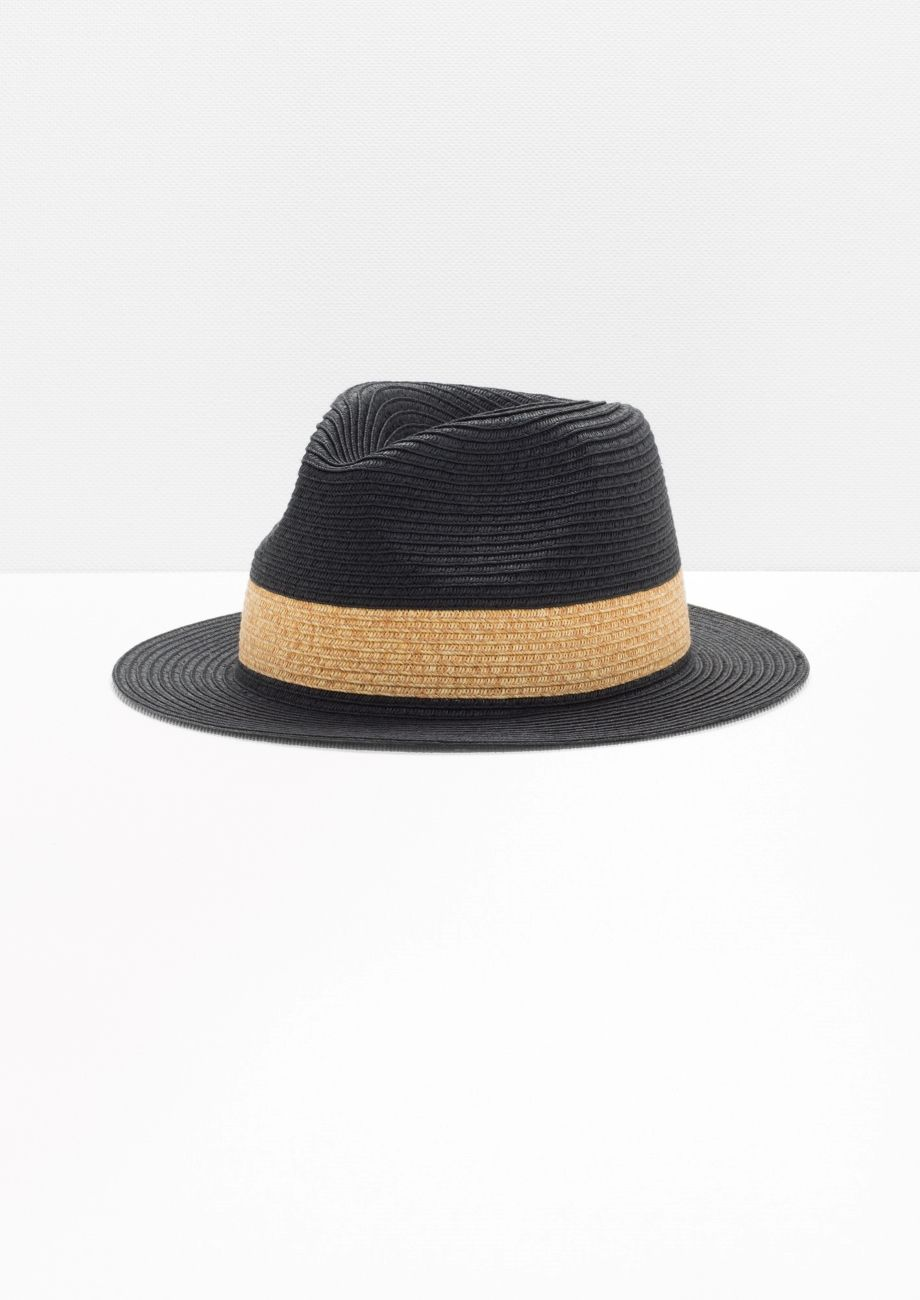 915d7b94 & Other Stories image 1 of Straw Fedora Hat in Black | Accessories ...