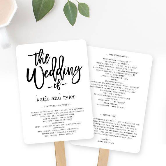 Wedding Program Fan or Flat Wedding Program Templates - Printable - printable program templates