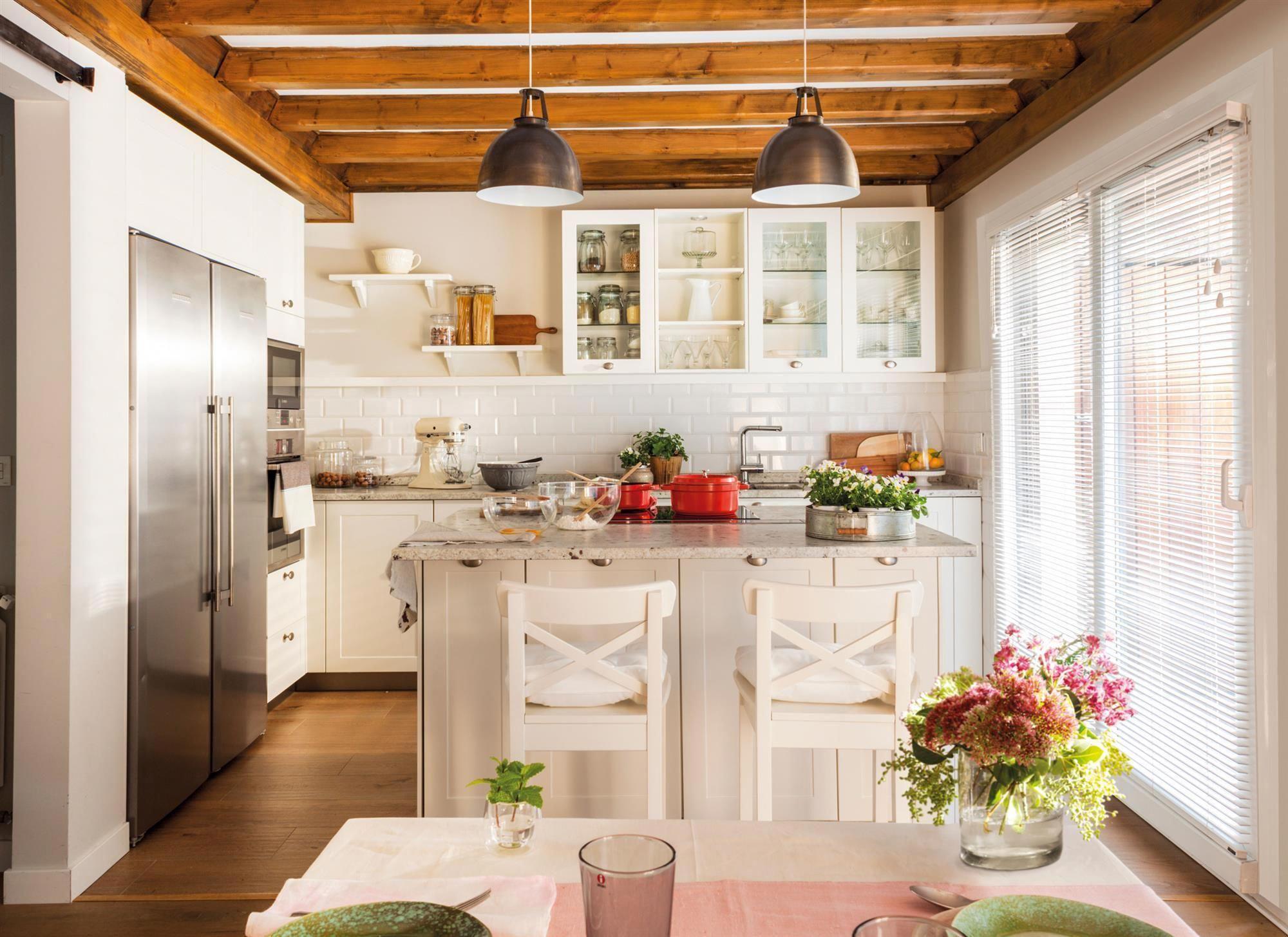 00472370 Cocina Campestre En Blanco Con Isla Y Office 00472370