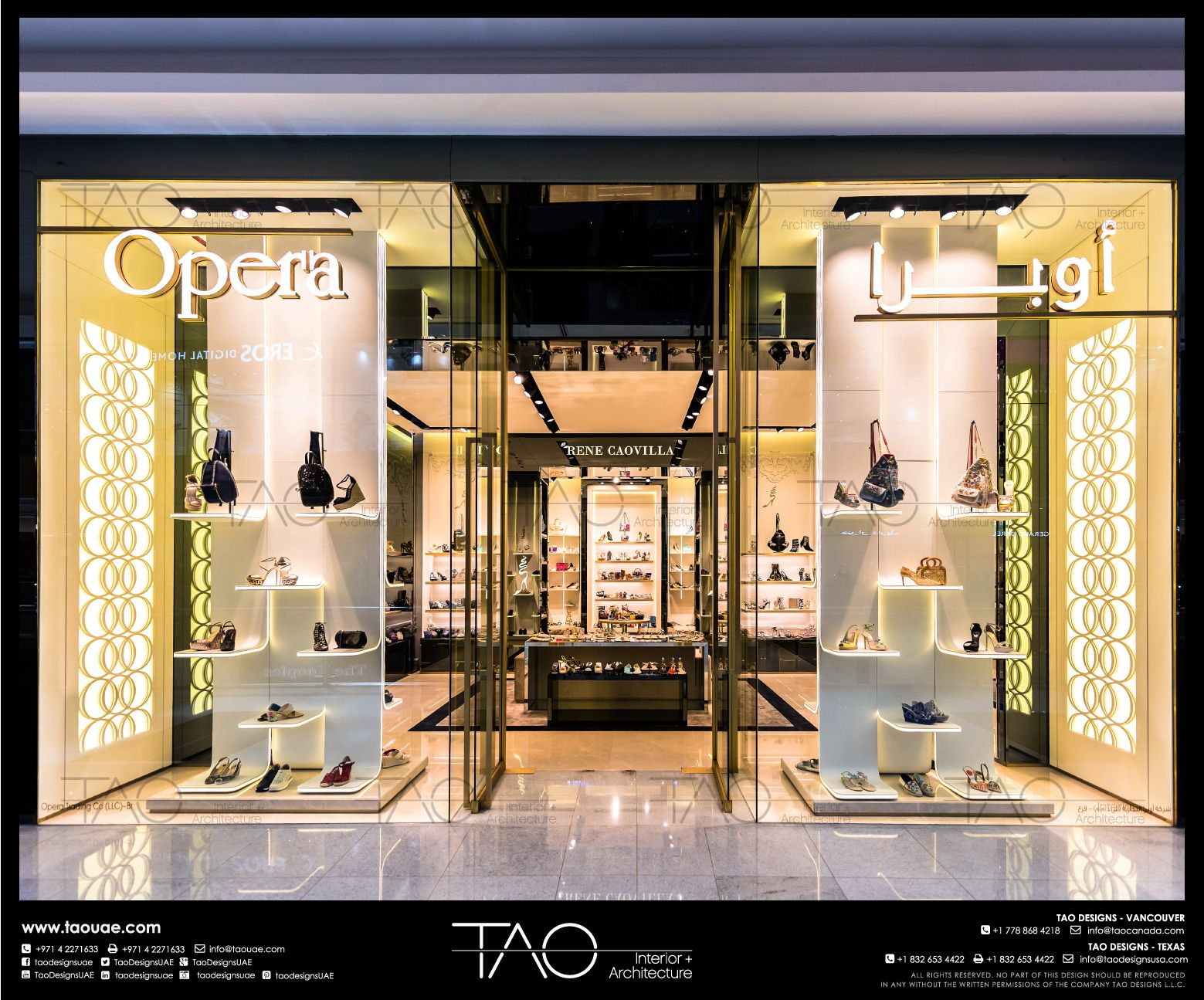 Opera Shoes Shop Front In Dubai Mall By Tao Designs Llc