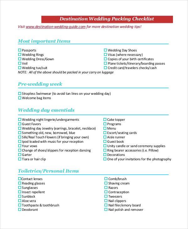 Destination Wedding Packing Checklist Destination Wedding