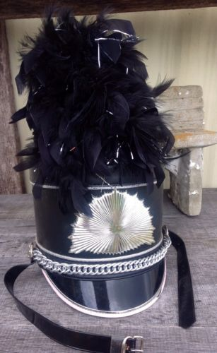 1120d8033a6 Vintage Shako Marching Band Hat   Black Silver Plume  RARE