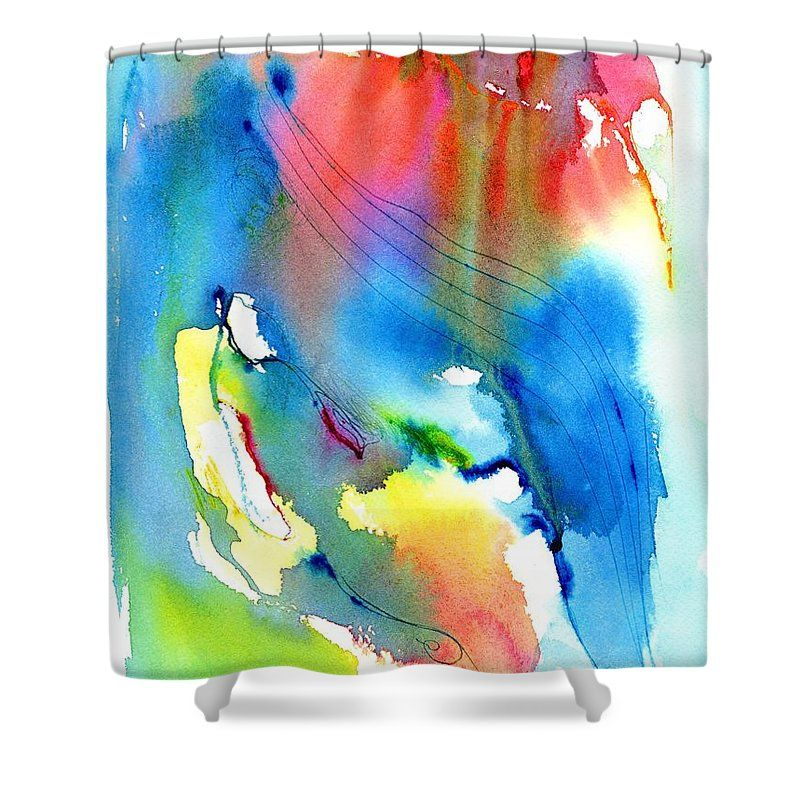Vibrant Colorful Abstract Watercolor Painting Shower Curtain ...