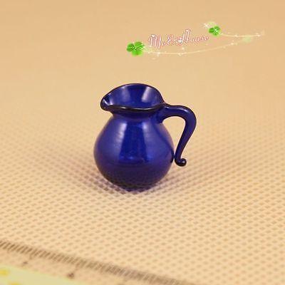 $4.20 Dollhouse Miniature 1:12 Toy Tableware Cobalt Blue Glass Cold Water Jar Jug