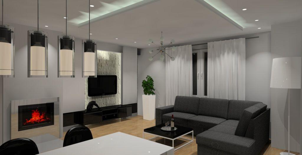 Oświetlenie Salonu Z Aneksem Kuchennym Szukaj W Google Home