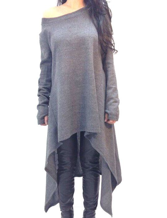 DDOL Women's Long Sleeve Irregular Hem Loose Tunic Tops T-Shirt Dress