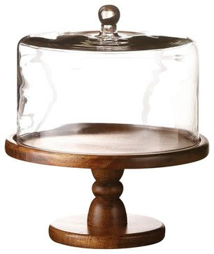 Madera Tall Wooden Cake Pedestal With Glass Dome Serveware