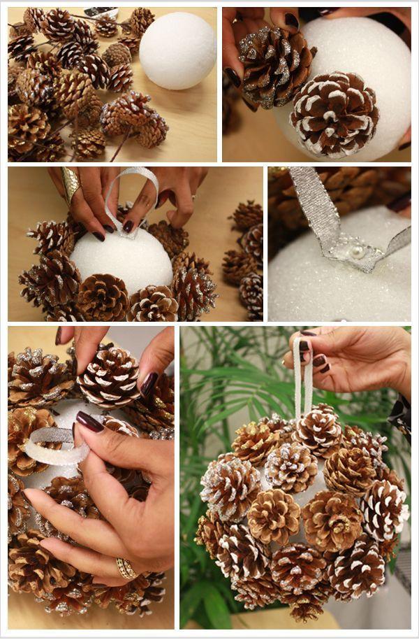 Winter Decor Chistmas Decoration Christmas Wreath Ball Pine Cone Kissing Ball