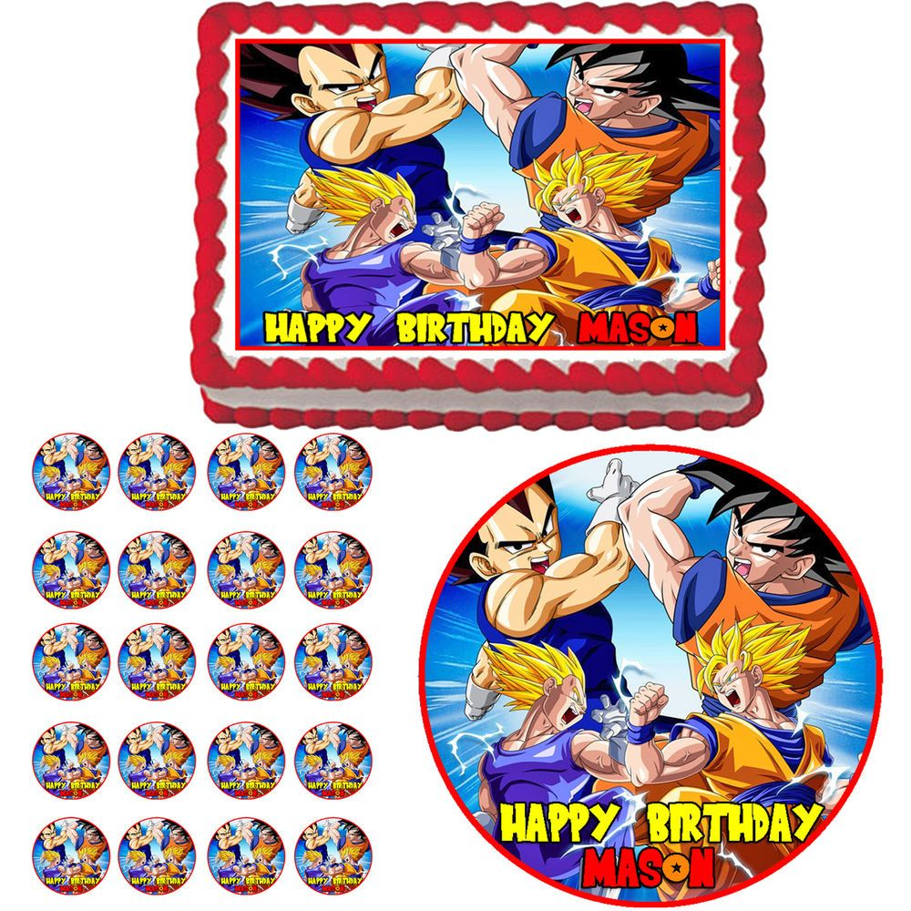 Dragon Ball Z Edible Birthday Party Cake Cupcake Toppers Plastic