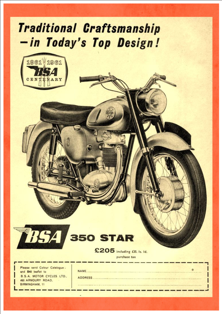 The B S A 350 Star Art Print Taken From A Vintage Motorcycle Advertisement Motorcycle Vintage Motorcycles Vintage