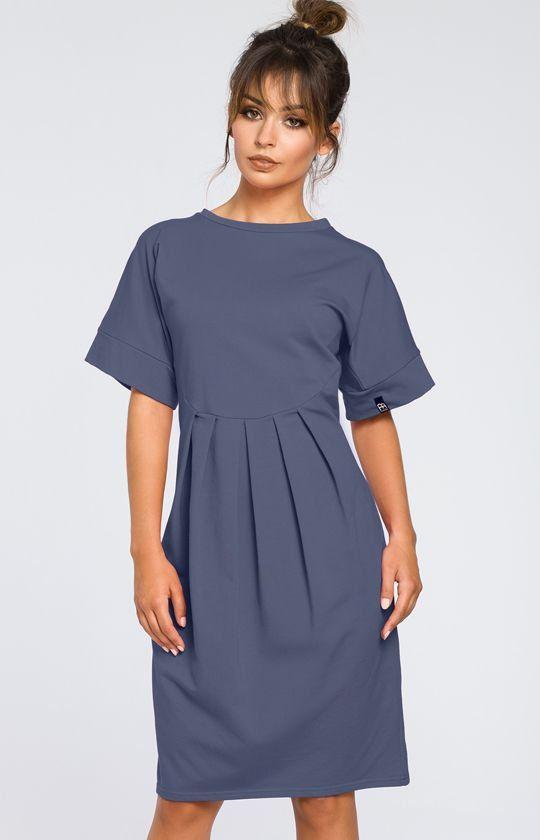 ddd8b744f7 BE B045 sukienka niebieska - Sukienki na co dzień - Dzienne sukienki ...