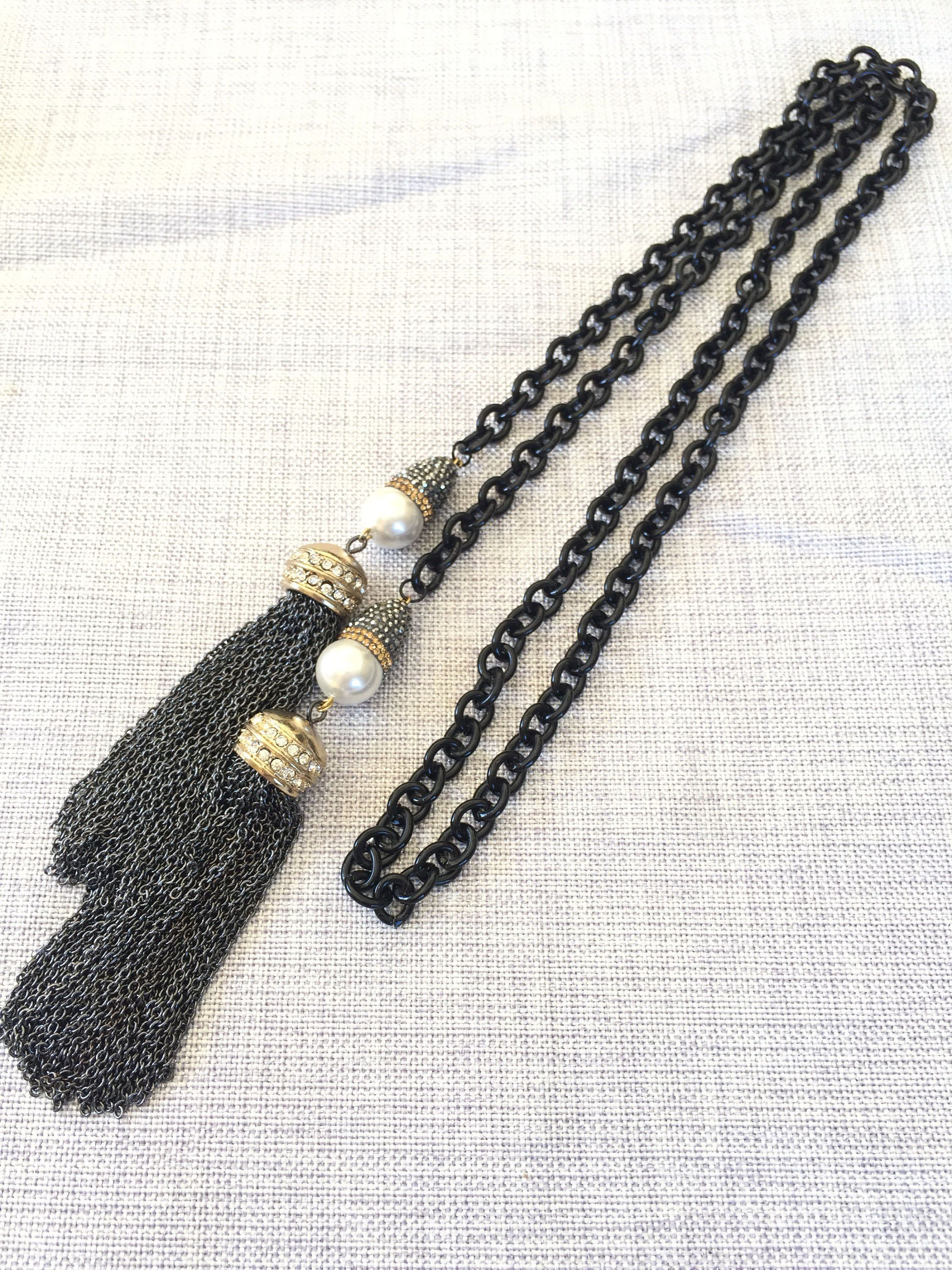 Long Chain Pearl Pave Lariat, Black Gold Tassel Chain Necklace, Mother Of Pearl Necklace, Wrap Around Jewelry, Boho Modern Fashion Gift Idea by Elegantzia on Etsy