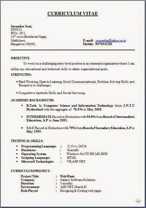 free download resume Sample Template Example of ExcellentCV - computer science resumes