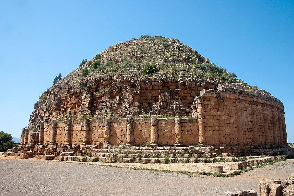 The Royal Mausoleum of Mauretania in Tipaza, Algeria was built in 3 BCE by Juba II of Numidia (c. 50 BCE – c. 25 CE) and his...