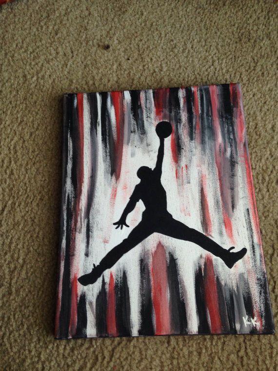 Air Jordan Jumpman Painting Etsy Diy Canvas Art Painting Canvases Basketball Canvas Painting