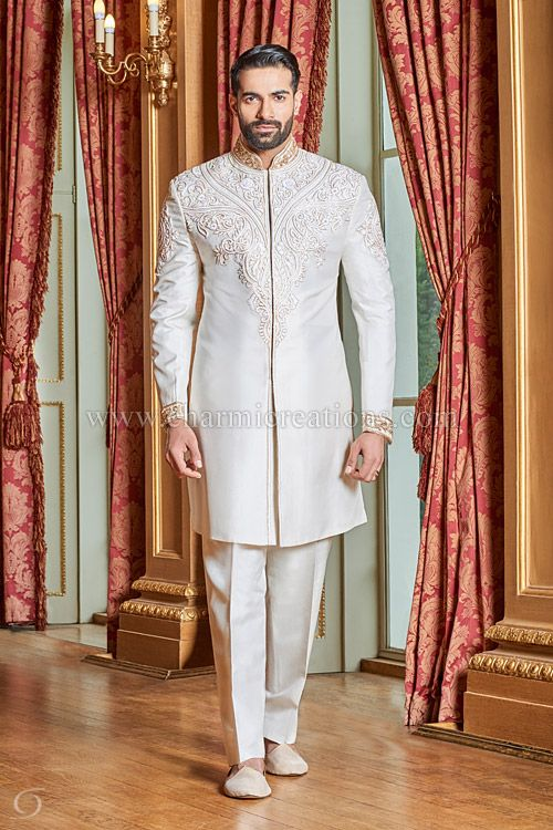 Mens Sherwani Suits Wedding Dresses For Men Asian Groom Suits Indian Wedding Suits London