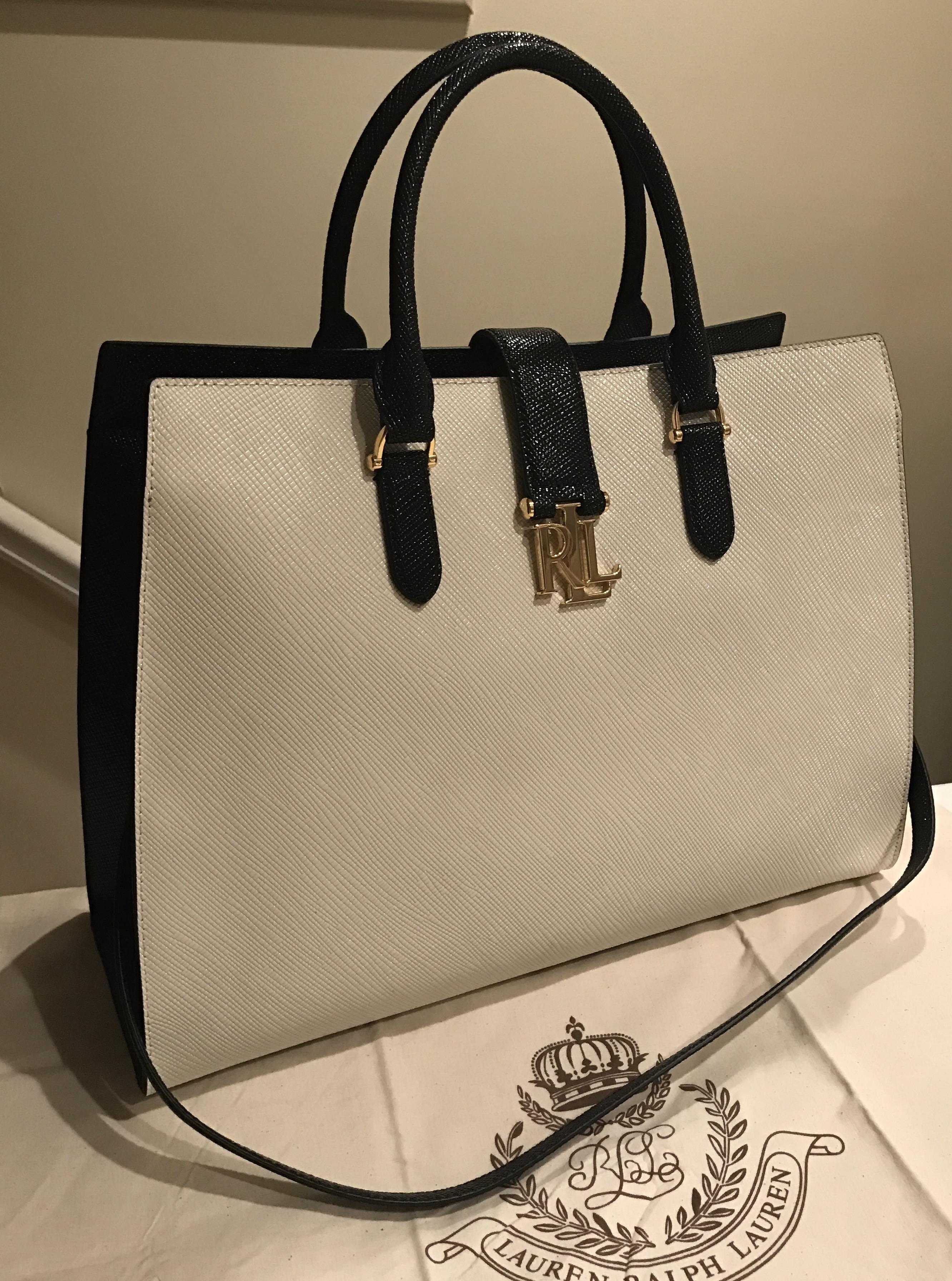 d1050aa763 Lauren Ralph Lauren Carrington Brigitte Nwt! Saffiano Leather Satchel Black    Vanilla Beige White Tote Bag. Get one of the hottest styles of the season!