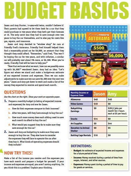 budget basics worksheet financial literacy for kids personal