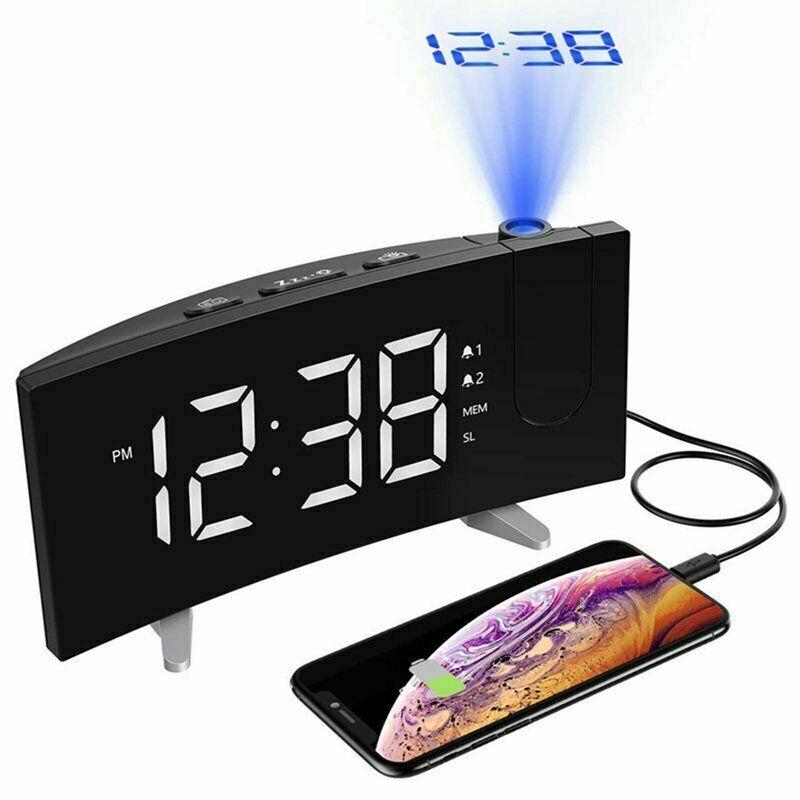 """Back Blue Light  Brand New Atomic Desk bedroom Alarm Clock-1.5/"""" Time Number"""