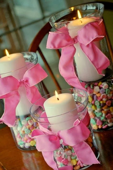 "Valentine's Day Decor - Conversation Heart ""sweetheart"" candies as hurricane filler for Valentine's Day candles."