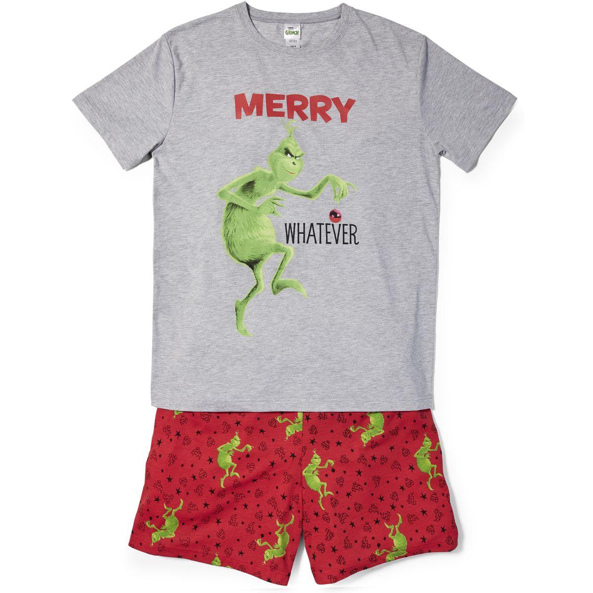 The Grinch Men's Christmas Pyjama Set Grey BIG W