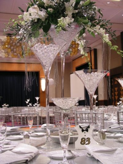 Giant Martini Glass Centerpieces.