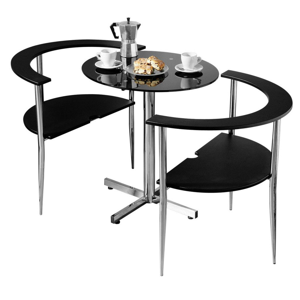 Love Dining Set, Black Tempered Glass Table Top, Chrome Finish Frame
