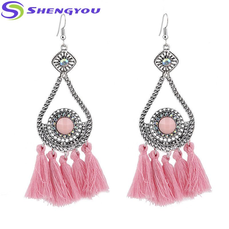 Wholesale Jewelry Triangle Shape Long Tassel Fashion Indian Earring for  Women 32a2d5343
