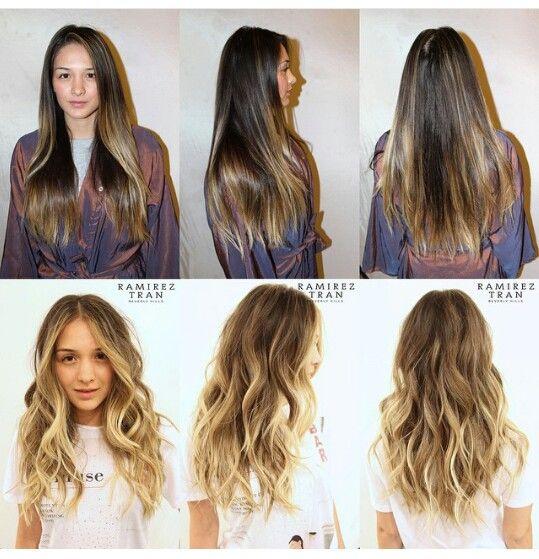 Ombre Hair Short Medium Length Brown Blonde Sombre Before