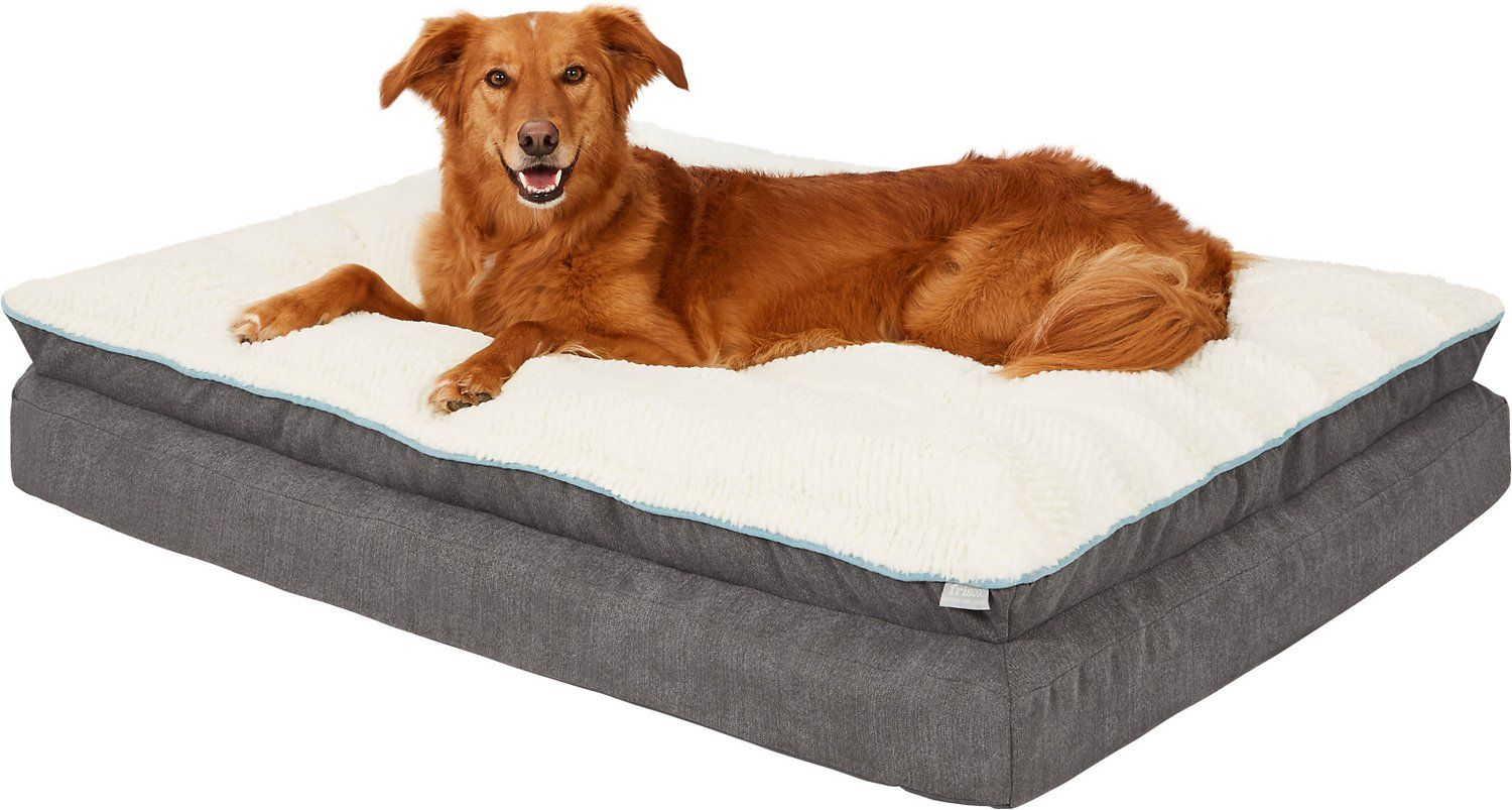 Frisco Plush Orthopedic Pillowtop Dog Bed W Removable Cover Gray Large Chewy Com Dog Bed Large Dog Bed Plush