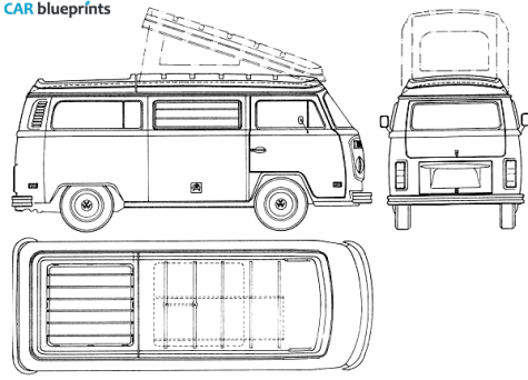 CAR blueprints / 1973 Volkswagen Westfalia Van blueprint