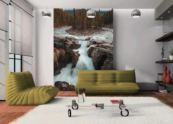 3D Rock Wasserfall 066 Blick Tapete Wandbild Wand Druck Aufkleber