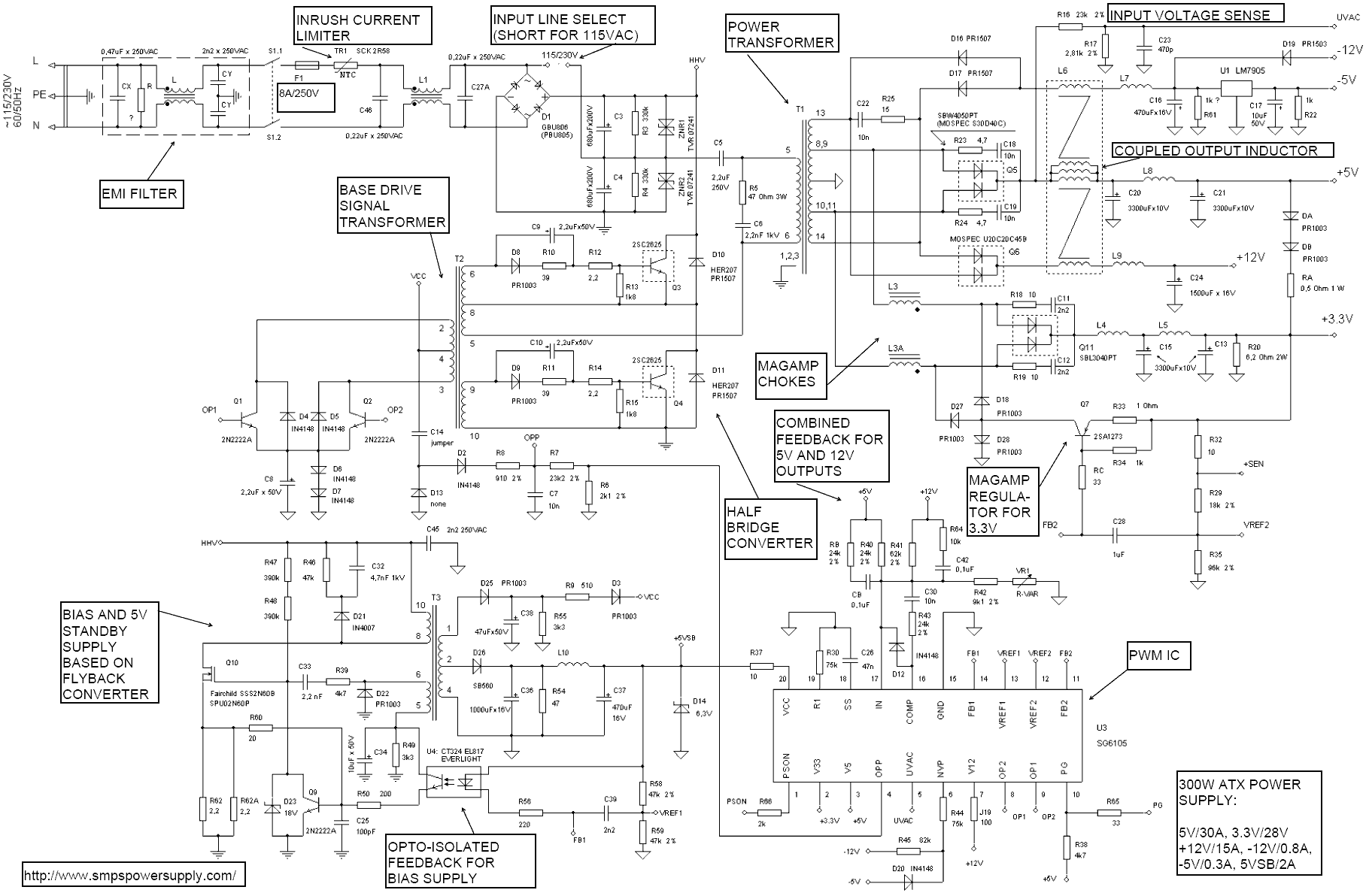 Symbols : Ravishing And Atx Computer Supplies Schematics Circuit ...