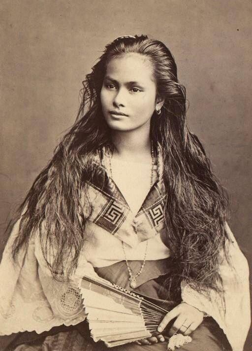 """""""Luzon Woman, circa between 1870-1914 (A mestizo Chinese Filipina woman from Luzon).""""  Filipino mestizo is a term used in the Philippines to describe people of mixed Filipino and any foreign ancestry. The word mestizo is of Spanish origin, and was originally used in the Americas to only describe people of mixed European and Native American ancestry.  Most Filipinos are Malayo-Polynesian, a major group within the Austronesian language family."""