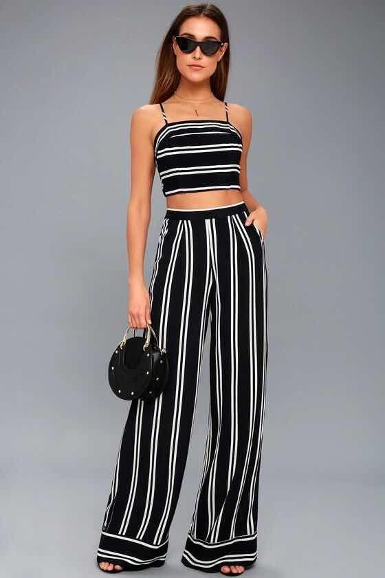 Ropa De Mujer 2018 Two Piece Jumpsuit Striped Two Piece Two Piece Outfit