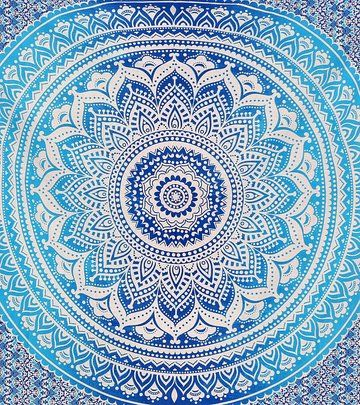 Blue Ombre Indian Wall Hanging Hippie Mandala Tapestry Bohemian Bedspread Ethnic