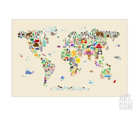 Animal Map of the World for children and kids Photographic Print by Michael Tompsett at Art.com