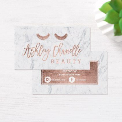 Logo lashes rose gold typography white marble 3 business card - office supply template