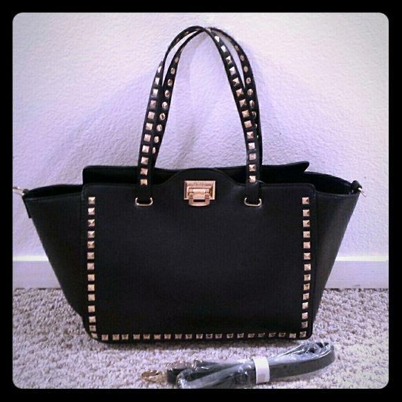 162468447f BCBG Paris Square Stud Tote Purse This black bag comes with a removable  shoulder strap.
