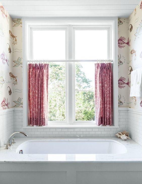 Bathroom Featuring Nina Campbell For Osborne Little Aquarium Wallpaper With Cute Cafe Curtains Collins Interiors