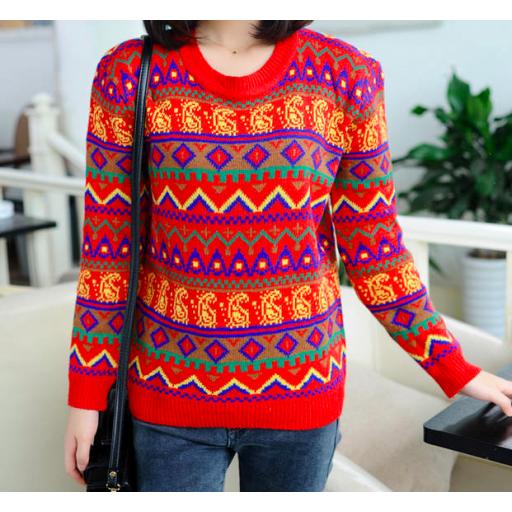 بلوفر شتوي بناتي احمر مخطط الألوان Long Sleeve Pullover Women Pullover Sweaters