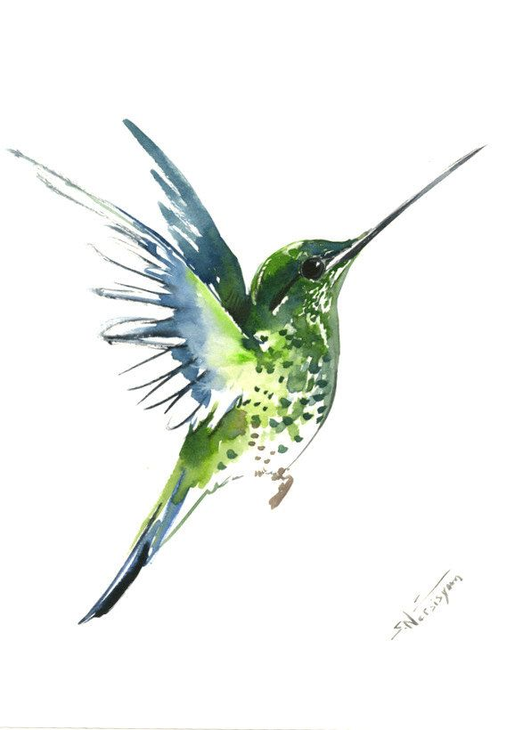 Flying Hummingbird, 12 X 9 in, original watercolor painting, flying ...