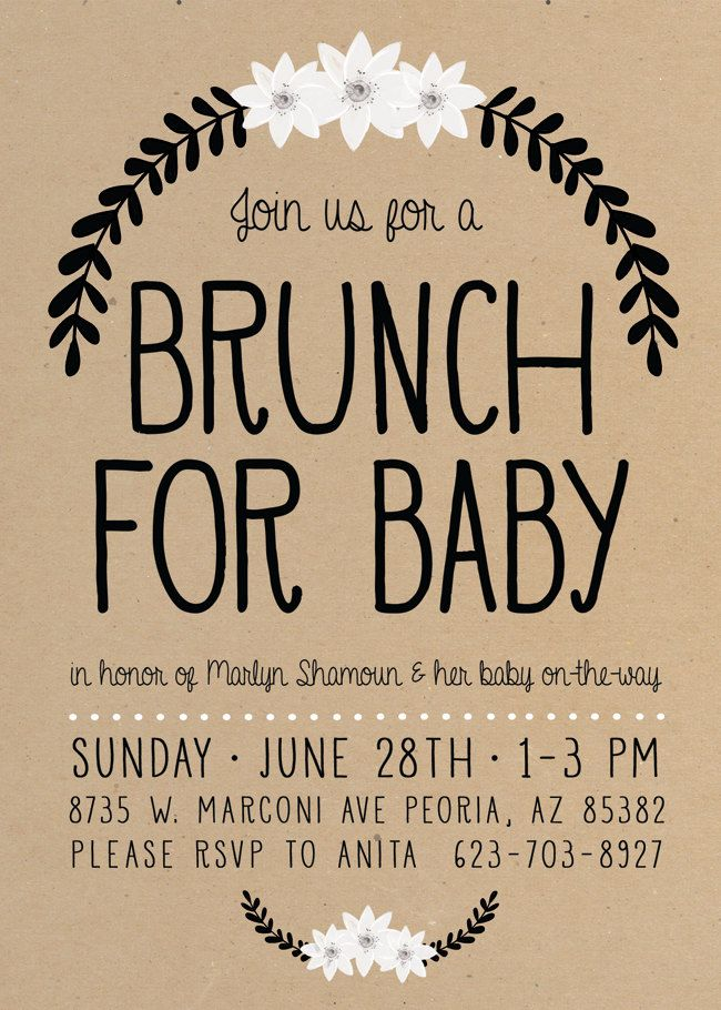 Baby shower brunch invitation simple boho gender neutral really like this style of invitation maybe grey background white letters stopboris Images