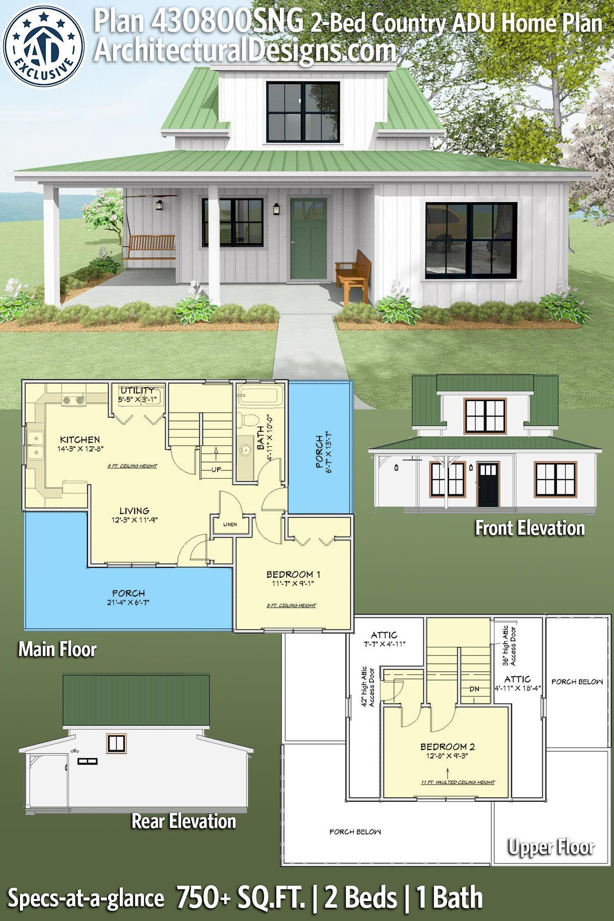 Plan 430800sng Quaint 2 Bed House Plan With Wrap Around Porch Architectural House Plans Vacation House Plans House Plans Farmhouse