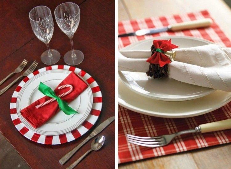 Zuckerstange mit grünem Band zur roten Serviette binden - weihnachtsservietten falten