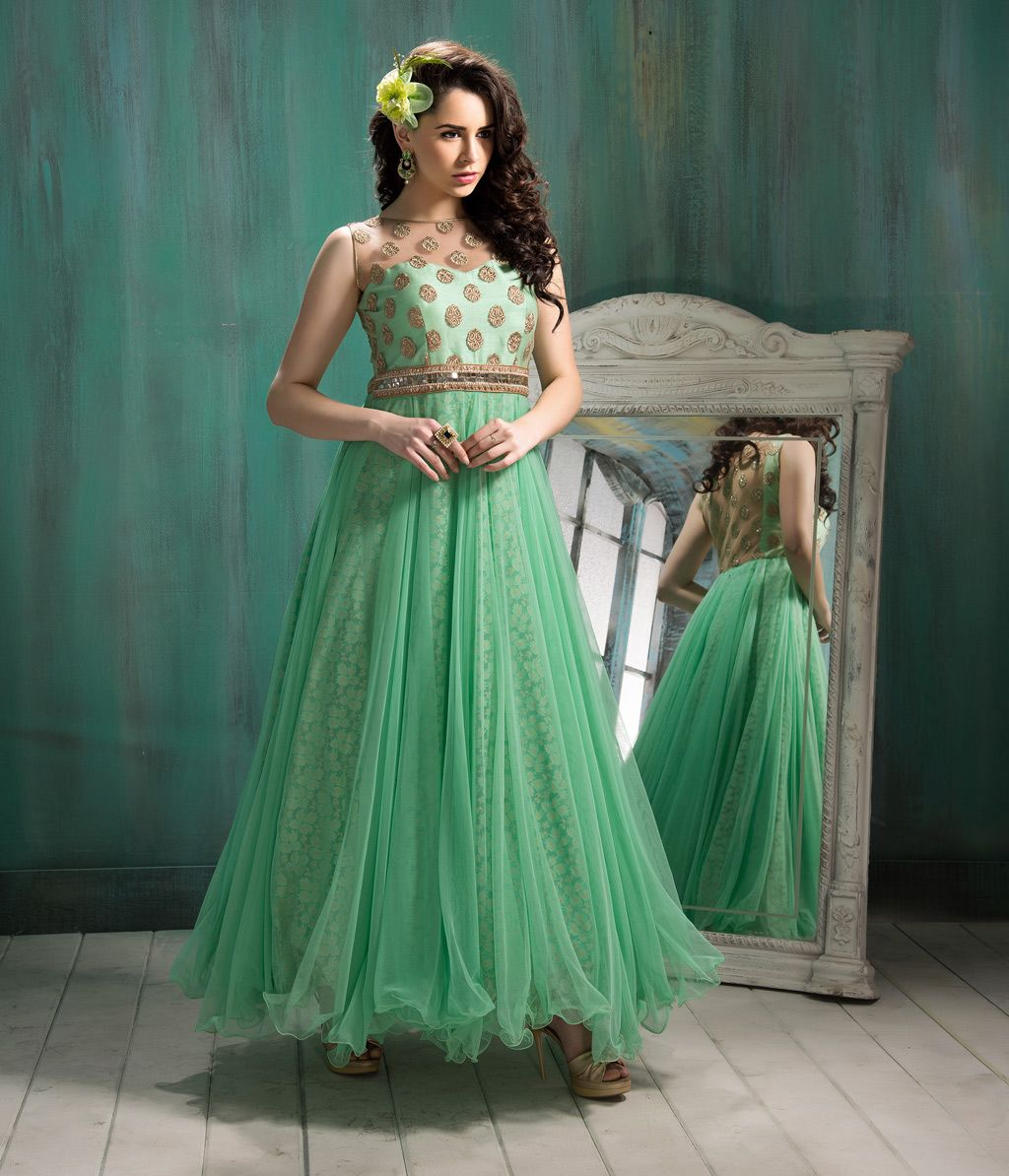 $157.30 Sea Green Net Ankle Length Ready Made Gown 57293 | Gorgeous ...