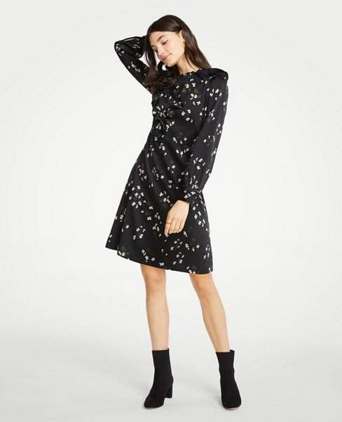 1426eced72d Ann Taylor Petite Floral Ruffle Flare Dress